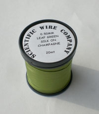 20 METERS 0.50MM LEAF GREEN COLOURED SILK COVERED COPPER