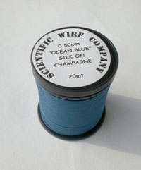 20 METERS 0.50MM OCEAN BLUE COLOURED SILK COVERED COPPER