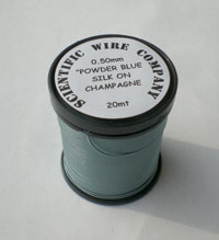 20 METERS 0.50MM POWDER BLUE COLOURED SILK COVERED COPPER