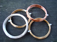Sample Pack 0.8mm 4x 6 Metres, 1 each of Gilt / Silver Plated / Brass / Copper