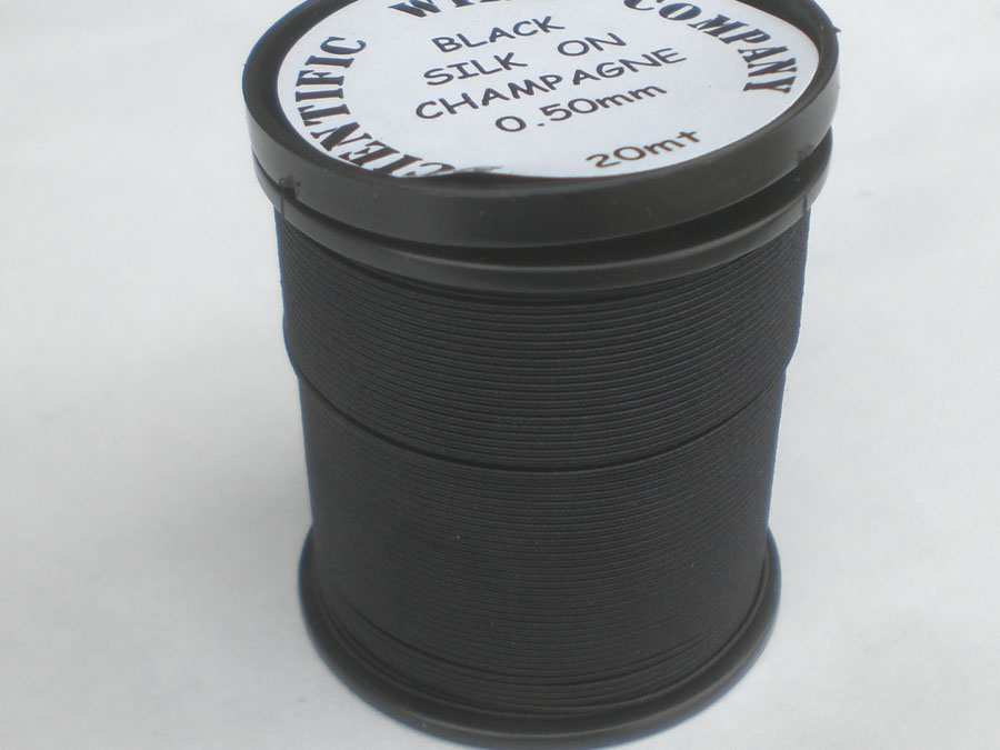 20 Metres 0.50mm BLACK Coloured SILK Covered Copper